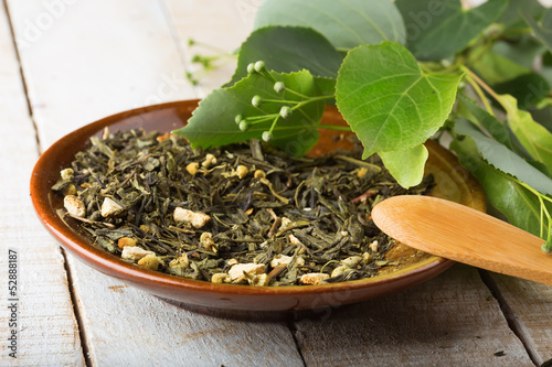 Dry herbal tea on plate