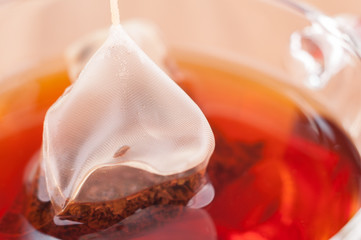 Silky pyramid mesh teabag in a cup extreme close up