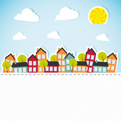 Paper banner with small town. Vector illustration.