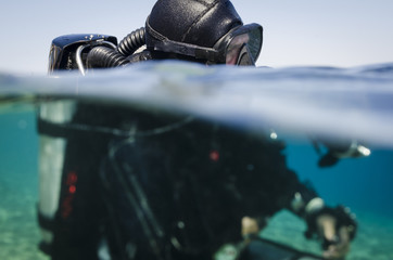 scuba diver with Tech re-breather