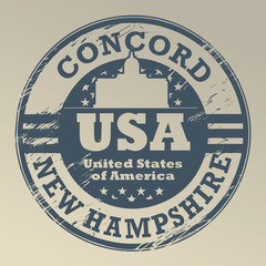 Grunge rubber stamp with name of New Hampshire, Concord