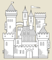 Castle fairy tale, vector illustration