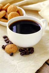 Espresso coffee cup with amaretti biscuits