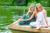 Two young women relaxing