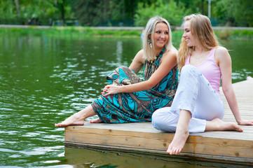 Two young women relaxing