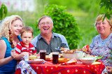 happy family together in picnic, colorful outdoors