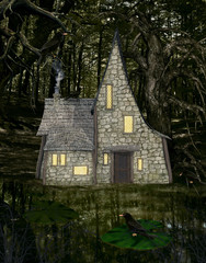 Witch house in the middle of the forest