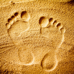 Footprints left in the sand or on the ground.