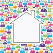 Home icon with in group of people stock vector
