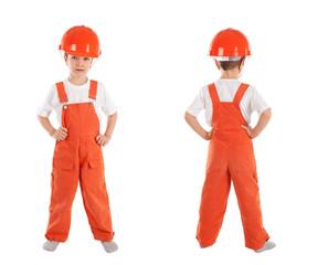 Portrait of boy in orange helmet, isolation