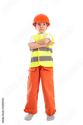 Portrait of boy in orange helmet, isolation