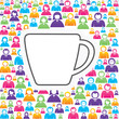 Mug icon with in group of people stock vector