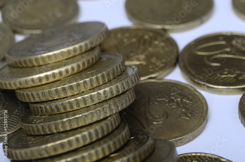 Pile of fifty cent euro coins