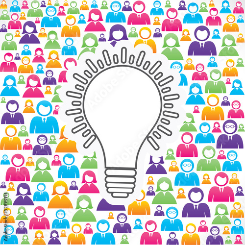 Bulb icon with in group of people stock vector