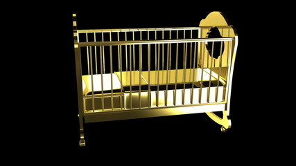 Gold infant bed