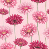 Watercolor gerber flowers. Seamless pattern