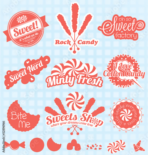 Vector Set: Retro Candy Shop Labels and Icons