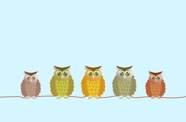 few brown owls sitting on a line