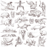 Australian collection - full sized hand drawings on white