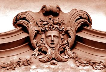 Barockes Stuckornament mit Maske, Schloss Rastatt