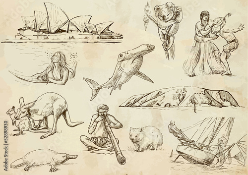 Australian collection 1 - hand drawings into vector set