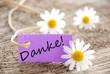 purple label with Danke!
