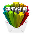 Contact Us Words Starburst Envelope Reach Out Help Support