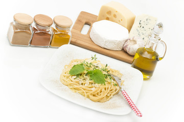 pasta dish and accompaniments