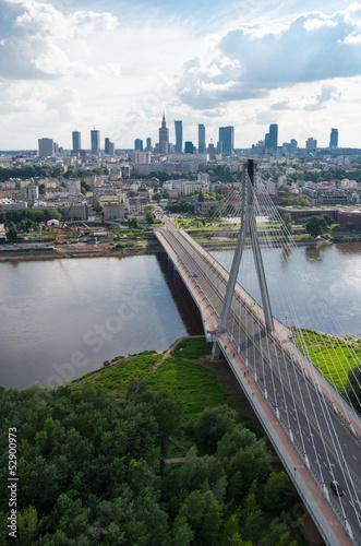 Obraz na Plexi Warsaw panorama, Świętokrzyski bridge