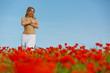 Nude girl in a poppy field