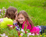 happy twin sister girls playing whispering ear in meadow