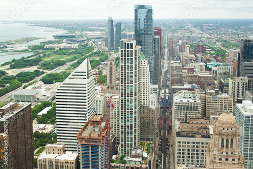 Poster Grote meren Chicago. Aerial view of Chicago downtown.