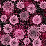 Dark seamless pattern with pink flowers