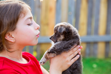 Beautiful kid girl portrait with puppy chihuahua doggy