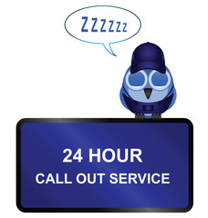 Comical twenty four call out service sign