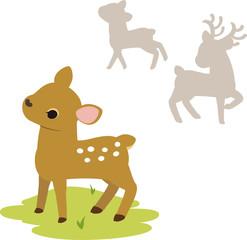 小鹿と鹿の群れ