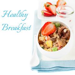Granola (muesli) with strawberries and milk. Healthy Breakfast