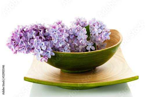 Fotobehang Lilac Lilac branch for spa a bowl of bamboo