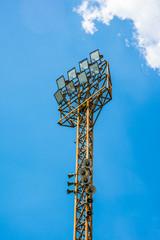 orange steel tower Stadium lights