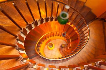 escalier bois en spirale