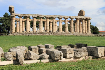 ruins of Greek temple of Paestum, Southern Italy