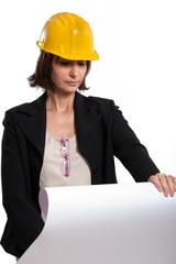 Architetto donna con progetto Edilizio