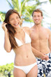 Happy romantic couple summer vacation beach fun