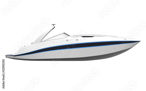 White Speedboat Isolated on White Background