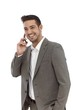 Happy businessman talking on mobile