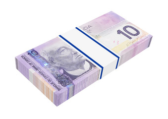 Canadian money on white. 3D photo rendering.