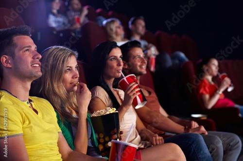 canvas print picture Spectators in multiplex movie theater