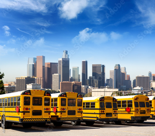 canvas print picture school bus in a row at LA skyline photo mount