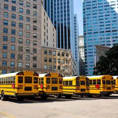 school bus row at San Francisco market photo mount