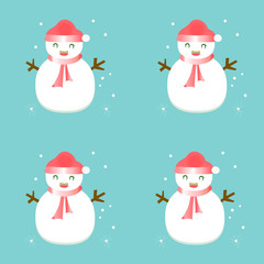 snowman with scarf hat on blue snow background